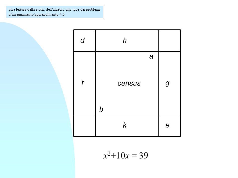 Una lettura della storia dell'algebra alla luce dei problemi d'insegnamento/apprendimento 4.5 x 2 +10x = 39