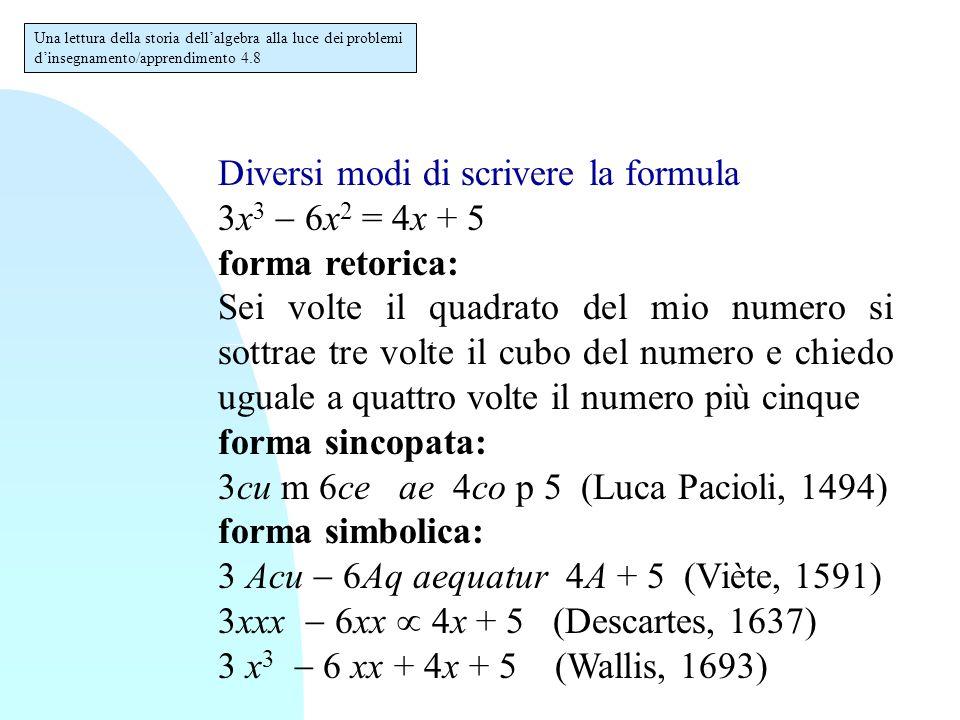 Diversi modi di scrivere la formula 3x 3  6x 2 = 4x + 5 forma retorica: Sei volte il quadrato del mio numero si sottrae tre volte il cubo del numero e chiedo uguale a quattro volte il numero più cinque forma sincopata: 3cu m 6ce ae 4co p 5 (Luca Pacioli, 1494) forma simbolica: 3 Acu  6Aq aequatur 4A + 5 (Viète, 1591) 3xxx  6xx  4x + 5 (Descartes, 1637) 3 x 3  6 xx + 4x + 5 (Wallis, 1693) Una lettura della storia dell'algebra alla luce dei problemi d'insegnamento/apprendimento 4.8