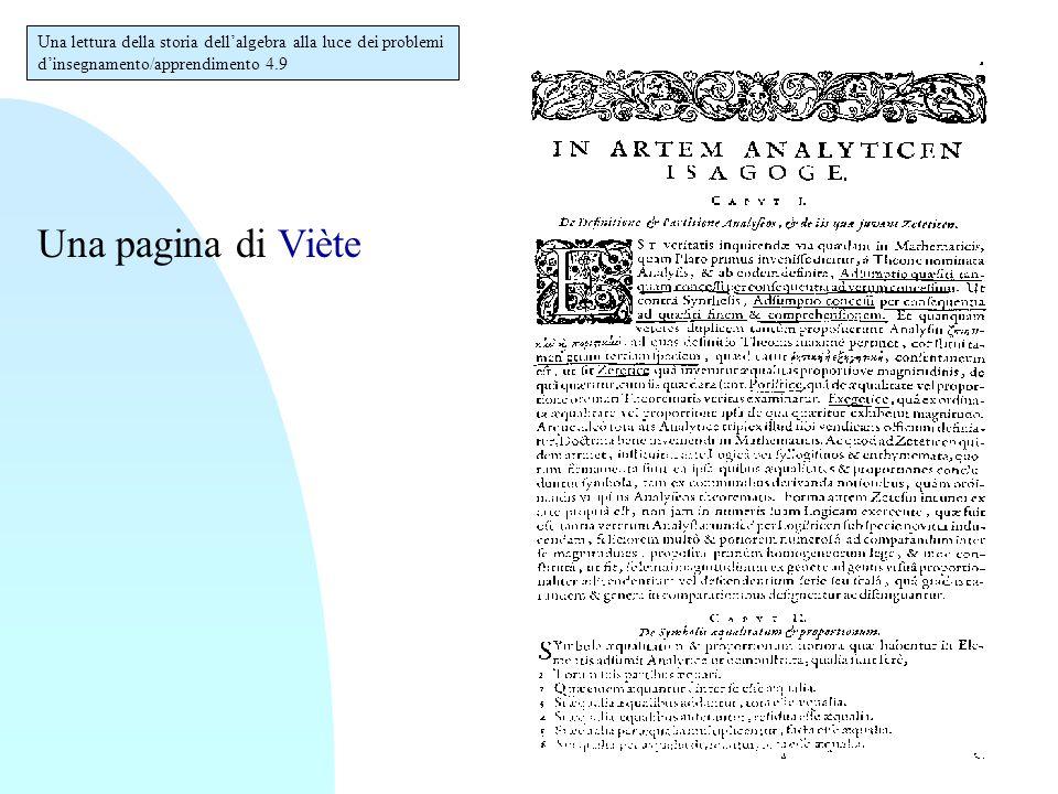Una lettura della storia dell'algebra alla luce dei problemi d'insegnamento/apprendimento 4.20