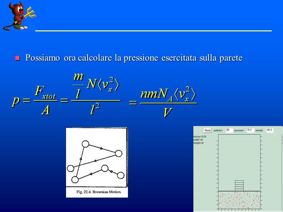 Moto in 3 Dimensioni Non tutte le molecole hanno la stessa velocita', ma possiamo considerarne la media Non tutte le molecole hanno la stessa velocita', ma possiamo considerarne la media Consideriamo ora il moto nelle tre coordinate.