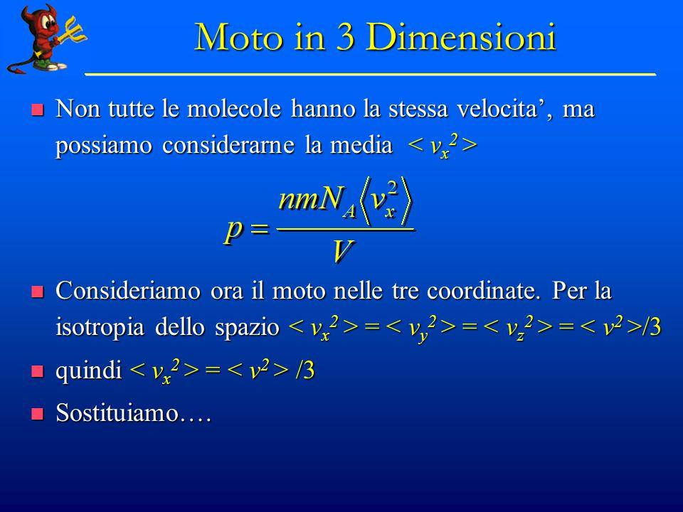 Teoria Cinetica: conclusioni Usando la meccanica Newtoniana abbiamo dimostrato che : Usando la meccanica Newtoniana abbiamo dimostrato che :  La relazione tra p, V e T  La relazione tra p, V e T é spiegabile in termini di urti caotici (disordinati e casuali) tra molecole;  La velocità media dipende da T e M:  La relazione di Boltzmann tra temperatura ed energia cinetica:  L'energia interna di un gas U: