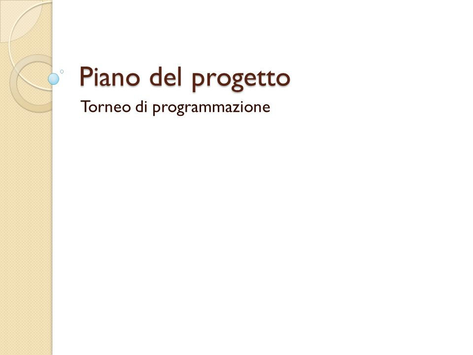 Piano del progetto Torneo di programmazione