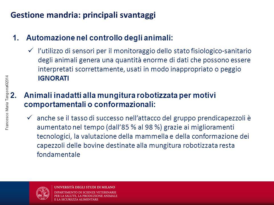 Francesco Maria Tangorra©2014 Gestione mandria: principali svantaggi 1.Automazione nel controllo degli animali: l'utilizzo di sensori per il monitorag