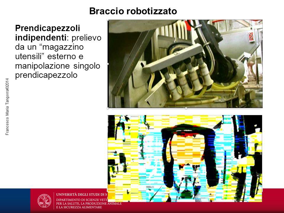 """Braccio robotizzato Prendicapezzoli indipendenti: prelievo da un """"magazzino utensili"""" esterno e manipolazione singolo prendicapezzolo"""