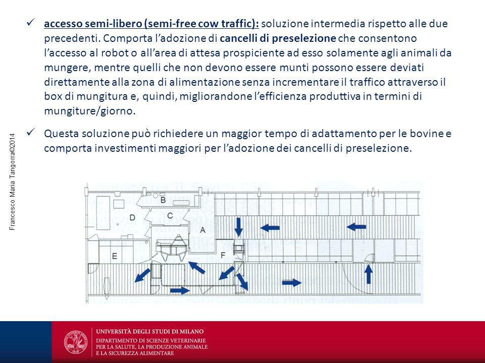 Francesco Maria Tangorra©2014 accesso semi-libero (semi-free cow traffic): soluzione intermedia rispetto alle due precedenti. Comporta l'adozione di c