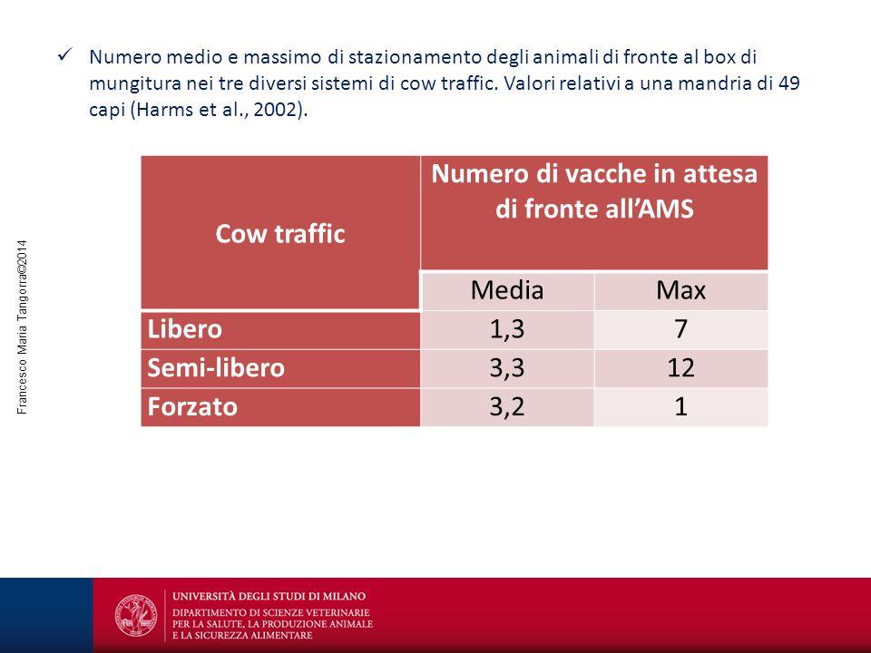 Francesco Maria Tangorra©2014 Numero medio e massimo di stazionamento degli animali di fronte al box di mungitura nei tre diversi sistemi di cow traff
