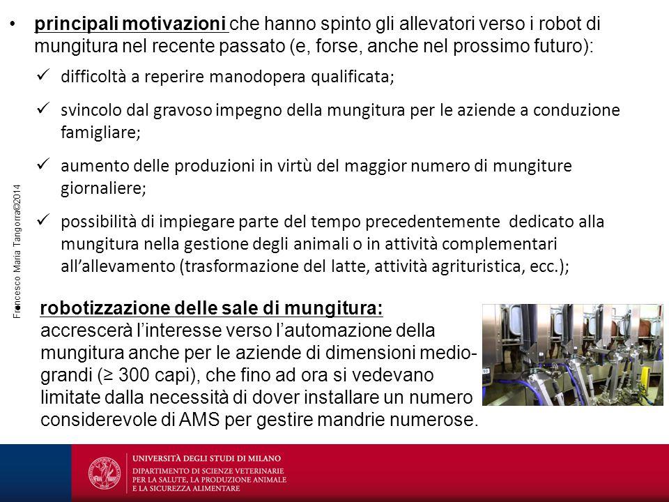 Francesco Maria Tangorra©2014 difficoltà a reperire manodopera qualificata; svincolo dal gravoso impegno della mungitura per le aziende a conduzione f