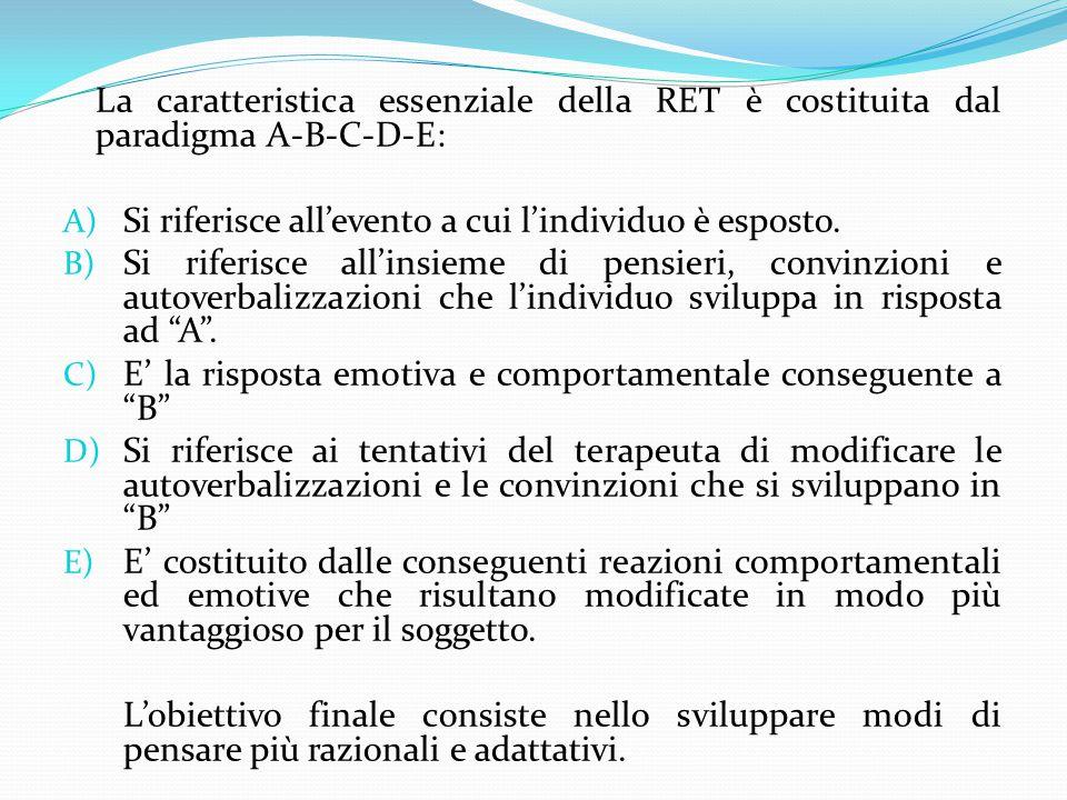 La caratteristica essenziale della RET è costituita dal paradigma A-B-C-D-E: A) Si riferisce all'evento a cui l'individuo è esposto. B) Si riferisce a