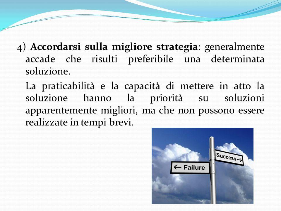 4) Accordarsi sulla migliore strategia: generalmente accade che risulti preferibile una determinata soluzione. La praticabilità e la capacità di mette