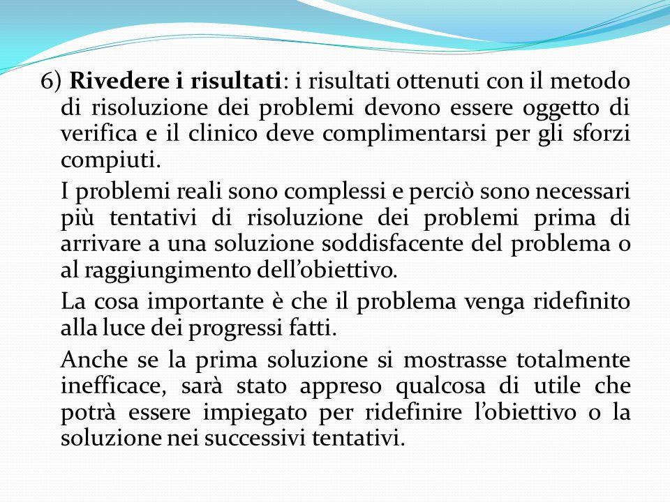6) Rivedere i risultati: i risultati ottenuti con il metodo di risoluzione dei problemi devono essere oggetto di verifica e il clinico deve compliment