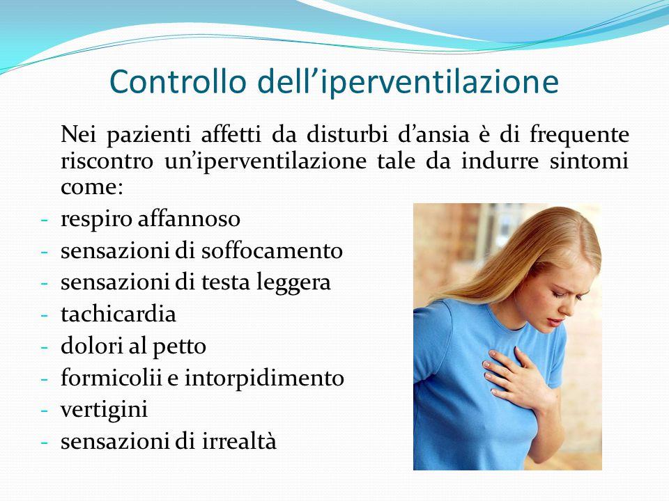 Controllo dell'iperventilazione Nei pazienti affetti da disturbi d'ansia è di frequente riscontro un'iperventilazione tale da indurre sintomi come: -