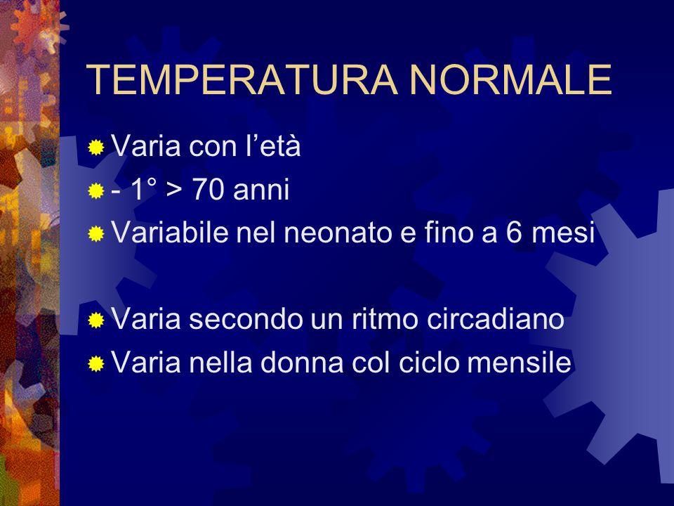 TEMPERATURA NORMALE  Varia con l'età  - 1° > 70 anni  Variabile nel neonato e fino a 6 mesi  Varia secondo un ritmo circadiano  Varia nella donna