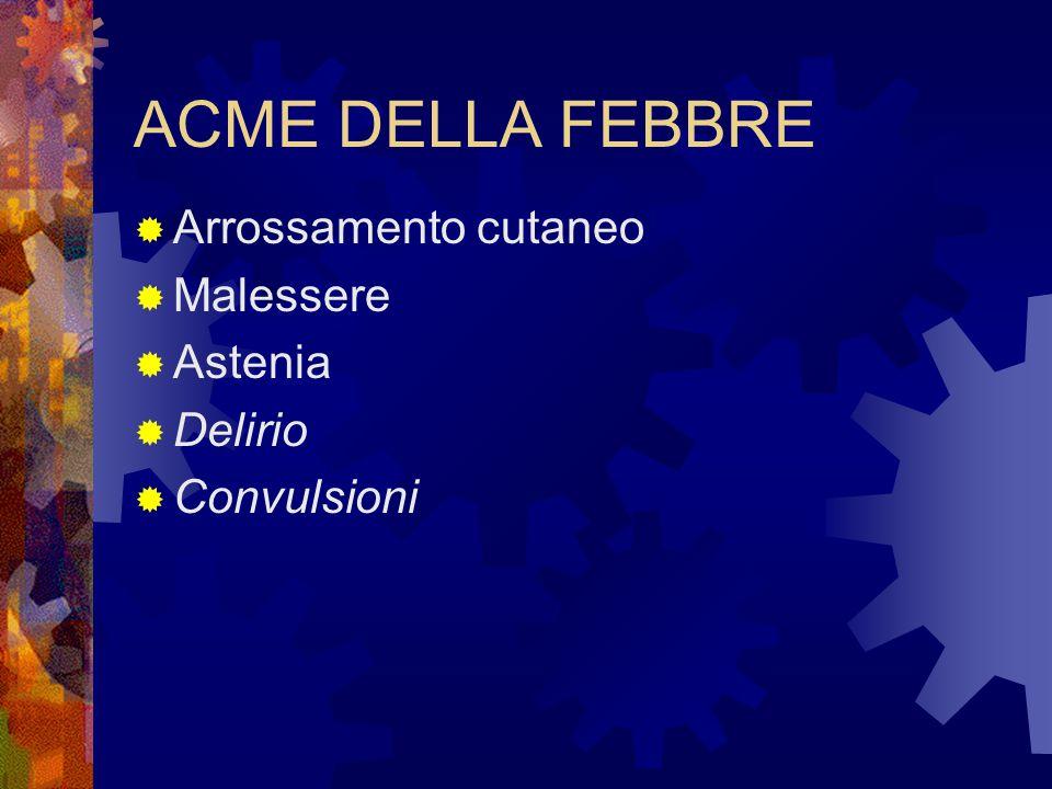 ACME DELLA FEBBRE  Arrossamento cutaneo  Malessere  Astenia  Delirio  Convulsioni
