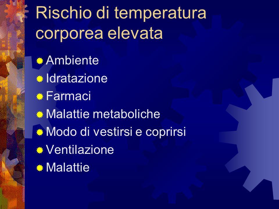 Rischio di temperatura corporea elevata  Ambiente  Idratazione  Farmaci  Malattie metaboliche  Modo di vestirsi e coprirsi  Ventilazione  Malat