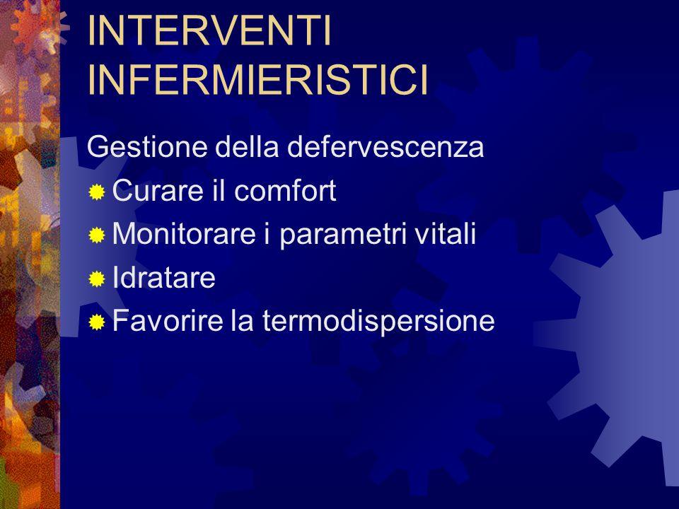 INTERVENTI INFERMIERISTICI Gestione della defervescenza  Curare il comfort  Monitorare i parametri vitali  Idratare  Favorire la termodispersione