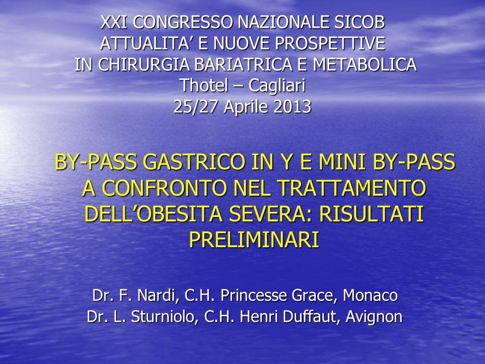 XXI CONGRESSO NAZIONALE SICOB ATTUALITA' E NUOVE PROSPETTIVE IN CHIRURGIA BARIATRICA E METABOLICA Thotel – Cagliari 25/27 Aprile 2013 BY-PASS GASTRICO IN Y E MINI BY-PASS A CONFRONTO NEL TRATTAMENTO DELL'OBESITA SEVERA: RISULTATI PRELIMINARI BY-PASS GASTRICO IN Y E MINI BY-PASS A CONFRONTO NEL TRATTAMENTO DELL'OBESITA SEVERA: RISULTATI PRELIMINARI Dr.