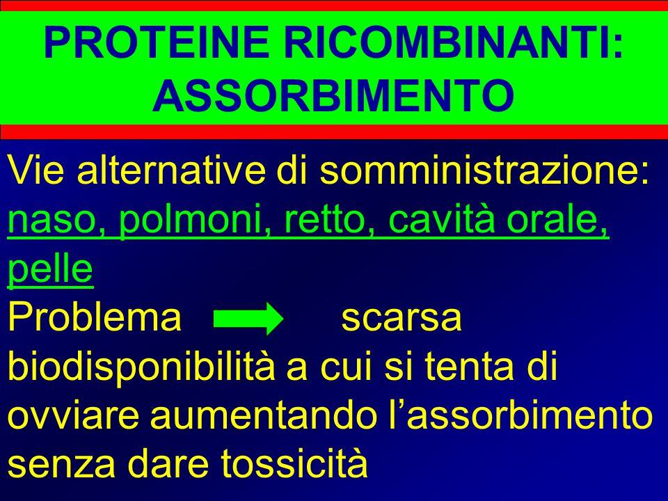 PROTEINE RICOMBINANTI: ASSORBIMENTO Vie alternative di somministrazione: naso, polmoni, retto, cavità orale, pelle Problema scarsa biodisponibilità a