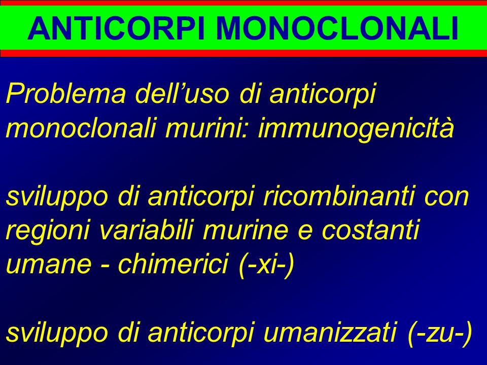 ANTICORPI MONOCLONALI Problema dell'uso di anticorpi monoclonali murini: immunogenicità sviluppo di anticorpi ricombinanti con regioni variabili murine e costanti umane - chimerici (-xi-) sviluppo di anticorpi umanizzati (-zu-)