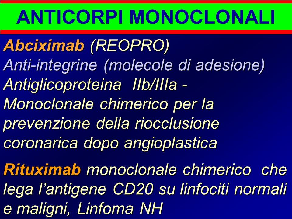 ANTICORPI MONOCLONALI Abciximab (REOPRO) Anti-integrine (molecole di adesione) Antiglicoproteina IIb/IIIa - Monoclonale chimerico per la prevenzione della riocclusione coronarica dopo angioplastica Rituximab monoclonale chimerico che lega l'antigene CD20 su linfociti normali e maligni, Linfoma NH