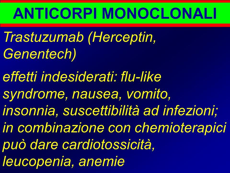 ANTICORPI MONOCLONALI Trastuzumab (Herceptin, Genentech) effetti indesiderati: flu-like syndrome, nausea, vomito, insonnia, suscettibilità ad infezioni; in combinazione con chemioterapici può dare cardiotossicità, leucopenia, anemie