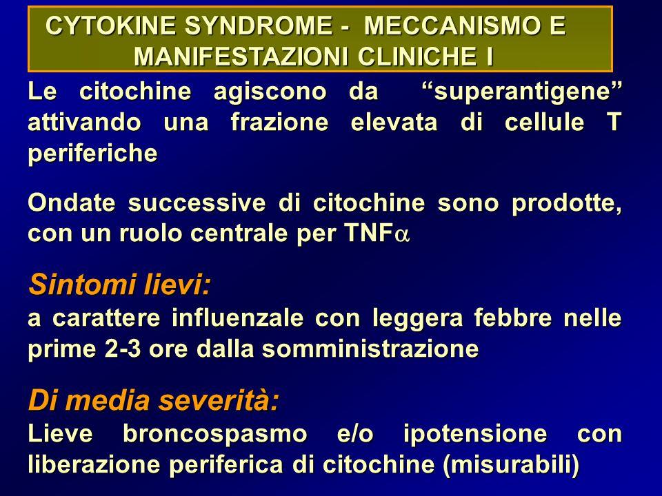 CYTOKINE SYNDROME - MECCANISMO E MANIFESTAZIONI CLINICHE I Le citochine agiscono da superantigene attivando una frazione elevata di cellule T periferiche Ondate successive di citochine sono prodotte, con un ruolo centrale per TNF  Sintomi lievi: a carattere influenzale con leggera febbre nelle prime 2-3 ore dalla somministrazione Di media severità: Lieve broncospasmo e/o ipotensione con liberazione periferica di citochine (misurabili)