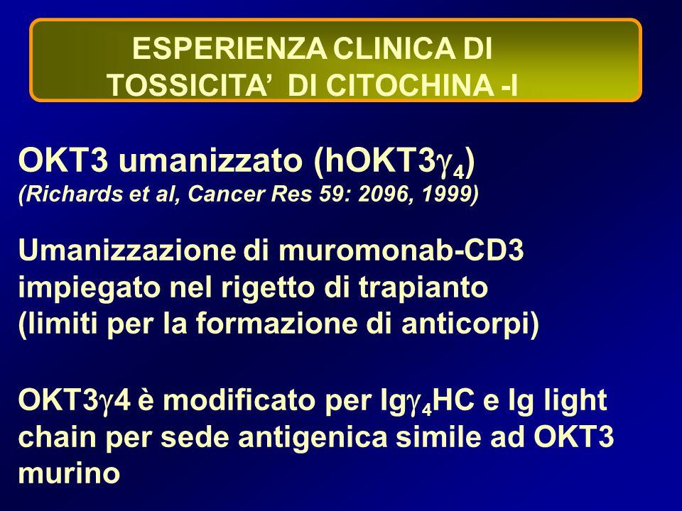 ESPERIENZA CLINICA DI TOSSICITA' DI CITOCHINA -I OKT3 umanizzato (hOKT3  4 ) (Richards et al, Cancer Res 59: 2096, 1999) Umanizzazione di muromonab-C