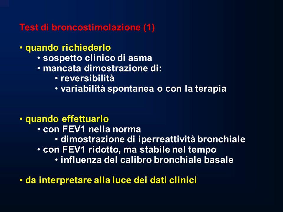 Test di broncostimolazione (2) utilità nella diagnosi di asma elevato potere predittivo negativo asma senza iperreattività (?) discreto potere predittivo positivo iperreattività presente in altre patologie bronchite cronica/enfisema bronchiectasie rinite allergica soggetti esposti ad irritanti soggetti normali più sensibile del test di reversibilità meccanismi fisiopatologici fattori pre-giunzionali fattori post-giunzionali