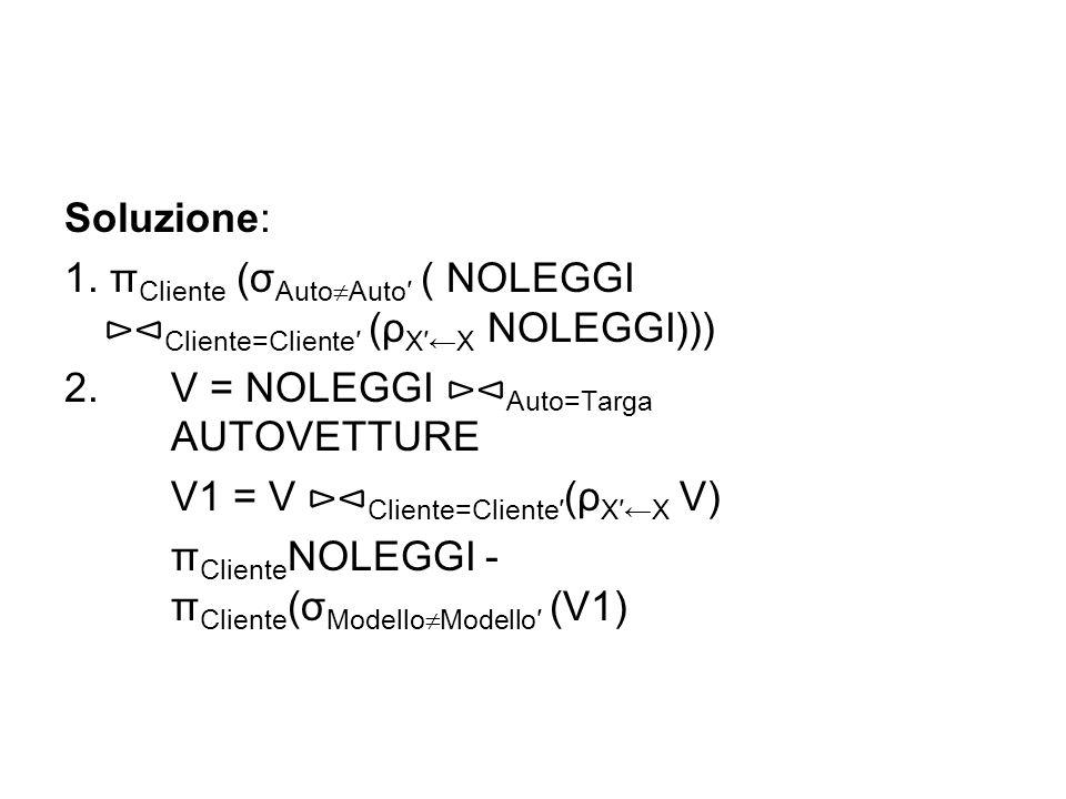 Soluzione: 1. π Cliente (σ Auto  Auto′ ( NOLEGGI ⊳⊲ Cliente=Cliente′ (ρ X′←X NOLEGGI))) 2. V = NOLEGGI ⊳⊲ Auto=Targa AUTOVETTURE V1 = V ⊳⊲ Cliente=Cl