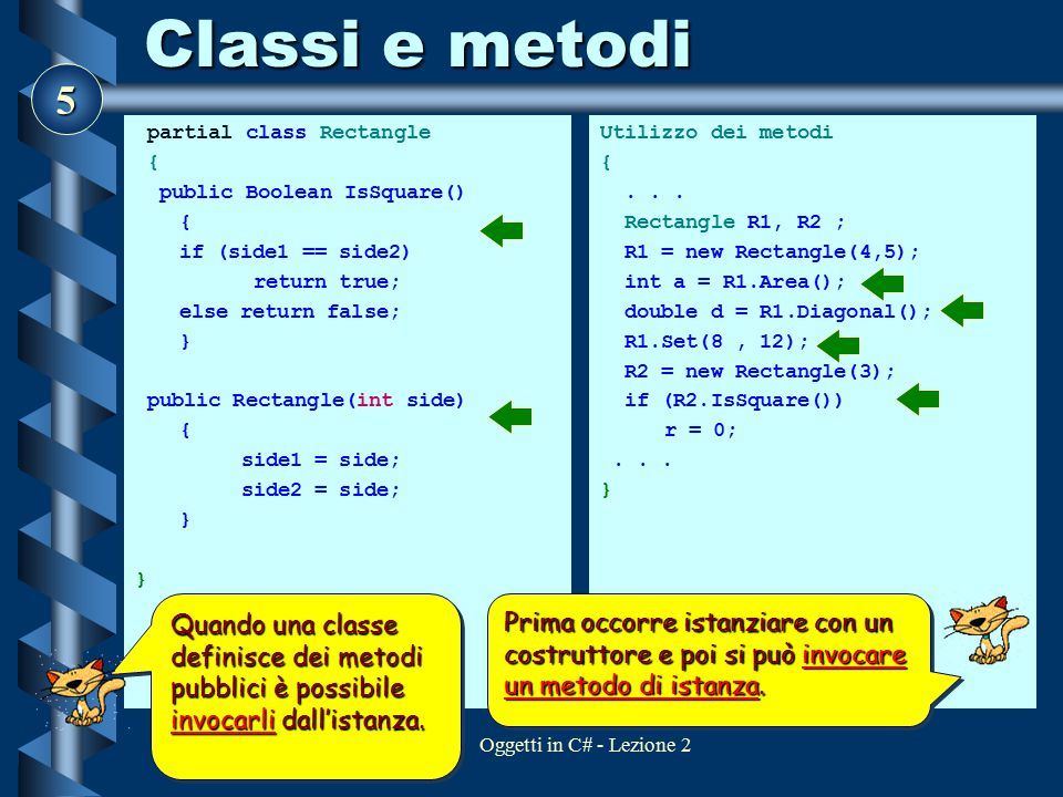 5 Oggetti in C# - Lezione 2 Classi e metodi partial class Rectangle { public Boolean IsSquare() { if (side1 == side2) return true; else return false;