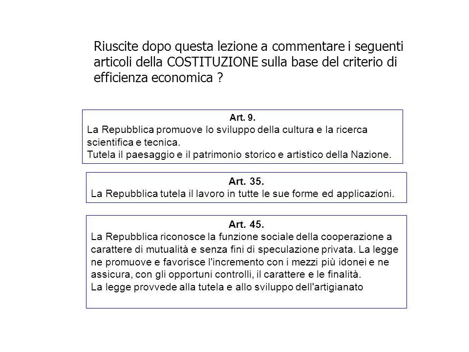Riuscite dopo questa lezione a commentare i seguenti articoli della COSTITUZIONE sulla base del criterio di efficienza economica ? Art. 9. La Repubbli