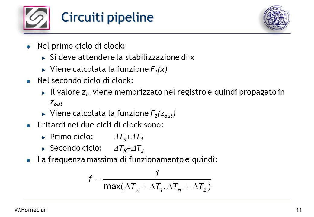 W.Fornaciari11 Circuiti pipeline Nel primo ciclo di clock: Si deve attendere la stabilizzazione di x Viene calcolata la funzione F 1 (x) Nel secondo ciclo di clock: Il valore z in viene memorizzato nel registro e quindi propagato in z out Viene calcolata la funzione F 2 (z out ) I ritardi nei due cicli di clock sono: Primo ciclo:  T x +  T 1 Secondo ciclo:  T R +  T 2 La frequenza massima di funzionamento è quindi: