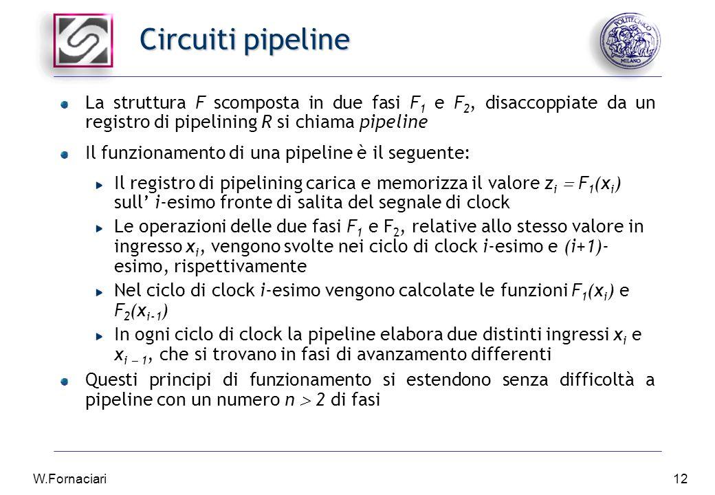 W.Fornaciari12 Circuiti pipeline La struttura F scomposta in due fasi F 1 e F 2, disaccoppiate da un registro di pipelining R si chiama pipeline Il funzionamento di una pipeline è il seguente: Il registro di pipelining carica e memorizza il valore z i  F 1 (x i ) sull' i-esimo fronte di salita del segnale di clock Le operazioni delle due fasi F 1 e F 2, relative allo stesso valore in ingresso x i, vengono svolte nei ciclo di clock i-esimo e (i+1)- esimo, rispettivamente Nel ciclo di clock i-esimo vengono calcolate le funzioni F 1 (x i ) e F 2 (x i-1 ) In ogni ciclo di clock la pipeline elabora due distinti ingressi x i e x i  1, che si trovano in fasi di avanzamento differenti Questi principi di funzionamento si estendono senza difficoltà a pipeline con un numero n  2 di fasi