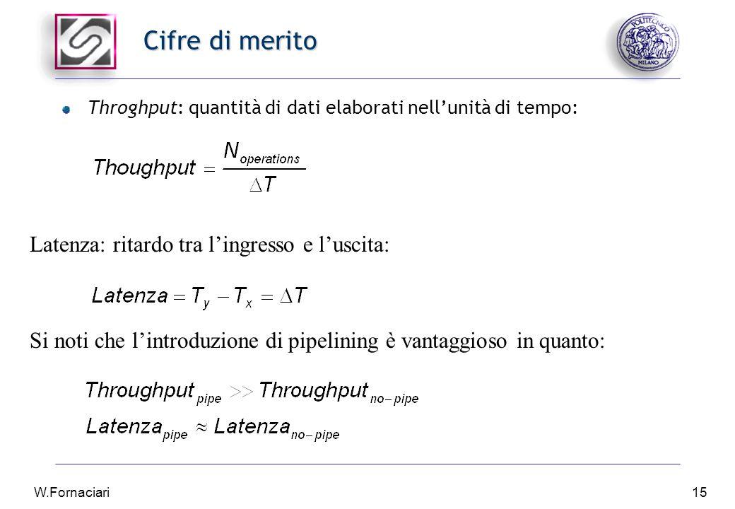 W.Fornaciari15 Cifre di merito Throghput: quantità di dati elaborati nell'unità di tempo: Latenza: ritardo tra l'ingresso e l'uscita: Si noti che l'introduzione di pipelining è vantaggioso in quanto: