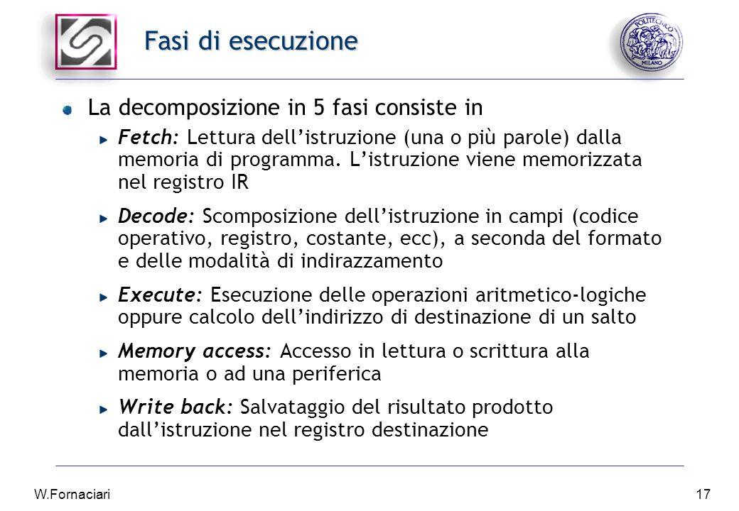 W.Fornaciari17 Fasi di esecuzione La decomposizione in 5 fasi consiste in Fetch: Lettura dell'istruzione (una o più parole) dalla memoria di programma.