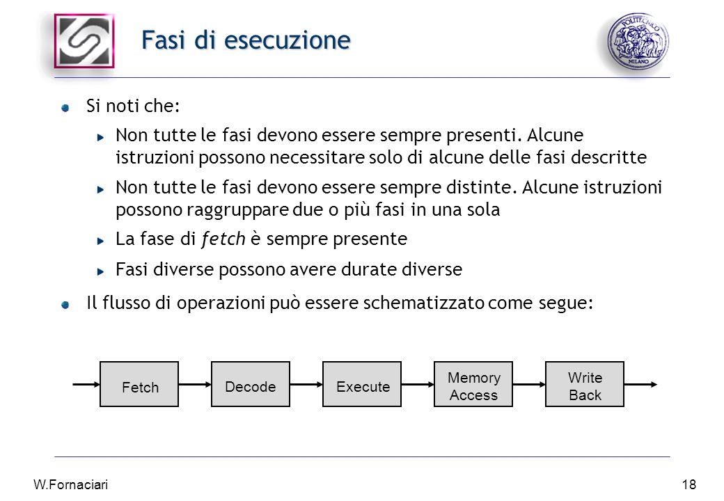 W.Fornaciari18 Fasi di esecuzione Si noti che: Non tutte le fasi devono essere sempre presenti.