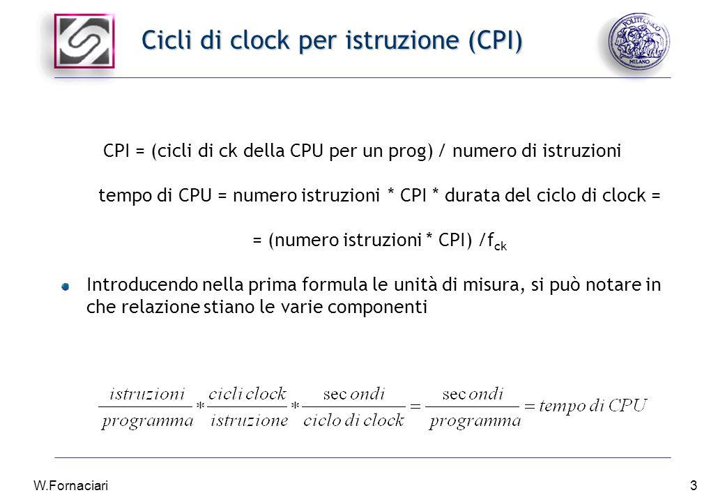 W.Fornaciari3 Cicli di clock per istruzione (CPI) CPI = (cicli di ck della CPU per un prog) / numero di istruzioni tempo di CPU = numero istruzioni * CPI * durata del ciclo di clock = = (numero istruzioni * CPI) /f ck Introducendo nella prima formula le unità di misura, si può notare in che relazione stiano le varie componenti