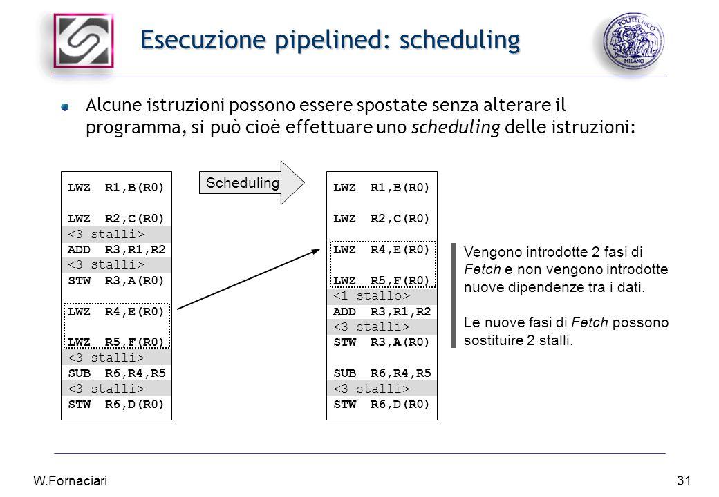 W.Fornaciari31 Esecuzione pipelined: scheduling Alcune istruzioni possono essere spostate senza alterare il programma, si può cioè effettuare uno scheduling delle istruzioni: LWZR1,B(R0) LWZR2,C(R0) ADDR3,R1,R2 STWR3,A(R0) LWZR4,E(R0) LWZR5,F(R0) SUBR6,R4,R5 STWR6,D(R0) LWZR1,B(R0) LWZR2,C(R0) LWZR4,E(R0) LWZR5,F(R0) ADDR3,R1,R2 STWR3,A(R0) SUBR6,R4,R5 STWR6,D(R0) Scheduling Vengono introdotte 2 fasi di Fetch e non vengono introdotte nuove dipendenze tra i dati.
