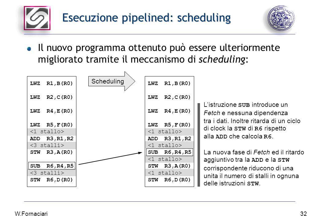 W.Fornaciari32 Esecuzione pipelined: scheduling Il nuovo programma ottenuto può essere ulteriormente migliorato tramite il meccanismo di scheduling: LWZR1,B(R0) LWZR2,C(R0) LWZR4,E(R0) LWZR5,F(R0) ADDR3,R1,R2 STWR3,A(R0) SUBR6,R4,R5 STWR6,D(R0) Scheduling L'istruzione SUB introduce un Fetch e nessuna dipendenza tra i dati.