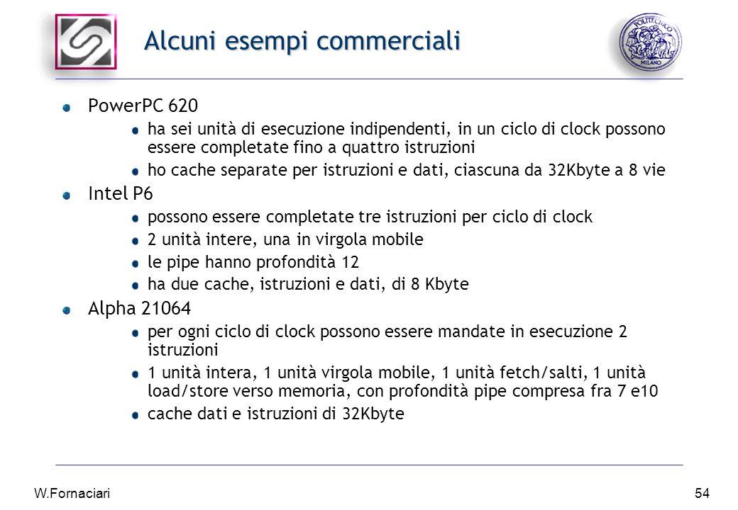 W.Fornaciari54 Alcuni esempi commerciali PowerPC 620 ha sei unità di esecuzione indipendenti, in un ciclo di clock possono essere completate fino a quattro istruzioni ho cache separate per istruzioni e dati, ciascuna da 32Kbyte a 8 vie Intel P6 possono essere completate tre istruzioni per ciclo di clock 2 unità intere, una in virgola mobile le pipe hanno profondità 12 ha due cache, istruzioni e dati, di 8 Kbyte Alpha 21064 per ogni ciclo di clock possono essere mandate in esecuzione 2 istruzioni 1 unità intera, 1 unità virgola mobile, 1 unità fetch/salti, 1 unità load/store verso memoria, con profondità pipe compresa fra 7 e10 cache dati e istruzioni di 32Kbyte