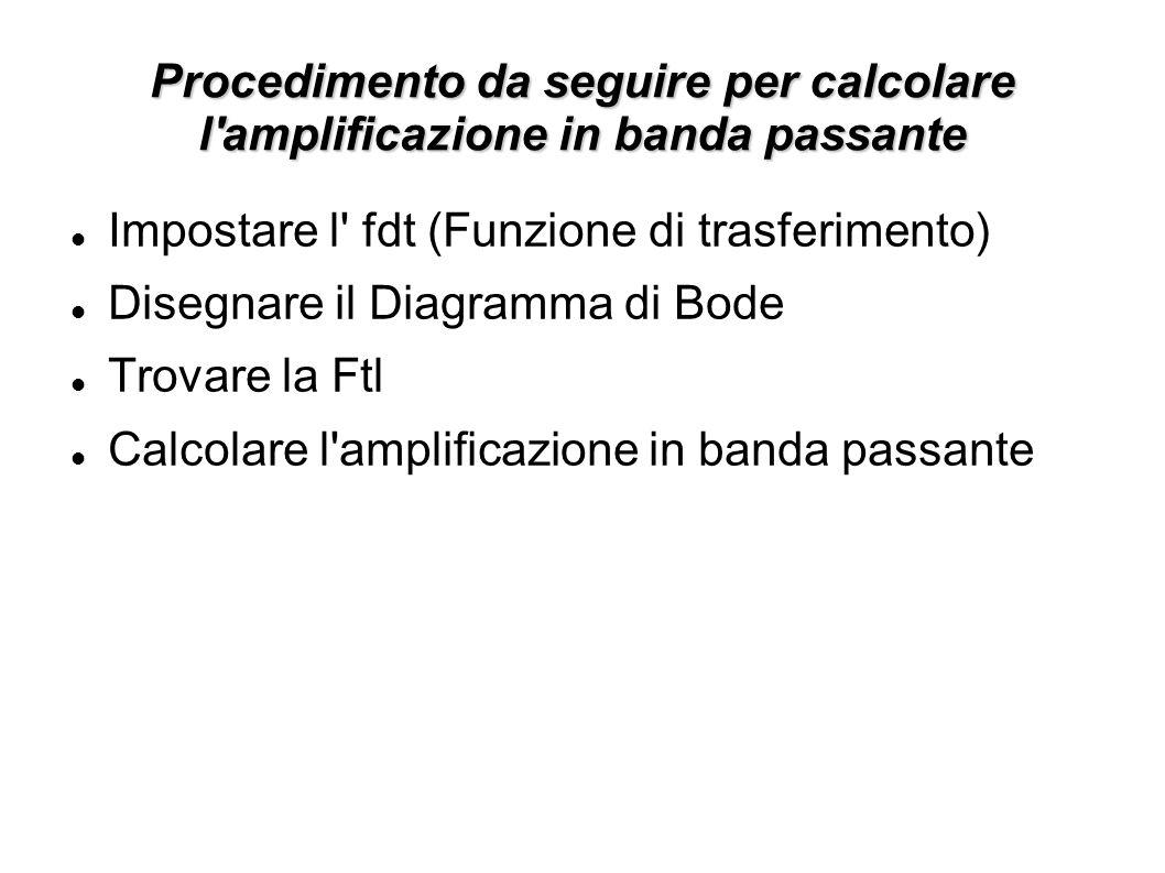 Procedimento da seguire per calcolare l amplificazione in banda passante Impostare l fdt (Funzione di trasferimento) Disegnare il Diagramma di Bode Trovare la Ftl Calcolare l amplificazione in banda passante