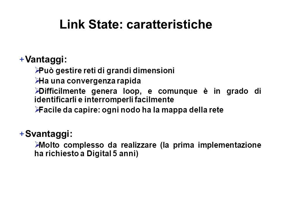 + Vantaggi:  Può gestire reti di grandi dimensioni  Ha una convergenza rapida  Difficilmente genera loop, e comunque è in grado di identificarli e