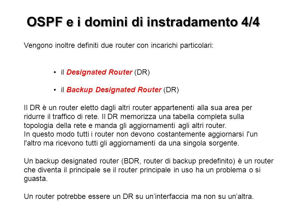 Vengono inoltre definiti due router con incarichi particolari: il Designated Router (DR) il Backup Designated Router (DR) Il DR è un router eletto dag