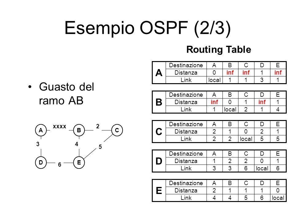 Esempio OSPF (2/3) Guasto del ramo AB ABC DE 3 2 5 xxxx 6 4 A Destinazione Distanza ABCDE 0inf 1 Linklocal1131 B Destinazione Distanza ABCDE inf01 1 L