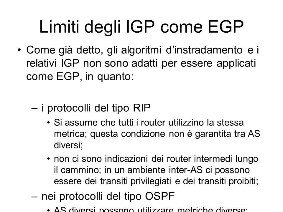 Limiti degli IGP come EGP Come già detto, gli algoritmi d'instradamento e i relativi IGP non sono adatti per essere applicati come EGP, in quanto: –i