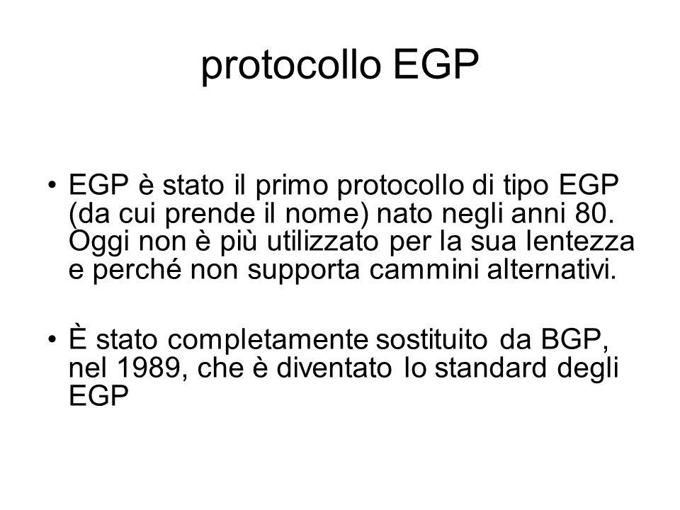 protocollo EGP EGP è stato il primo protocollo di tipo EGP (da cui prende il nome) nato negli anni 80. Oggi non è più utilizzato per la sua lentezza e