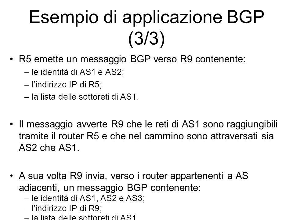 Esempio di applicazione BGP (3/3) R5 emette un messaggio BGP verso R9 contenente: –le identità di AS1 e AS2; –l'indirizzo IP di R5; –la lista delle so