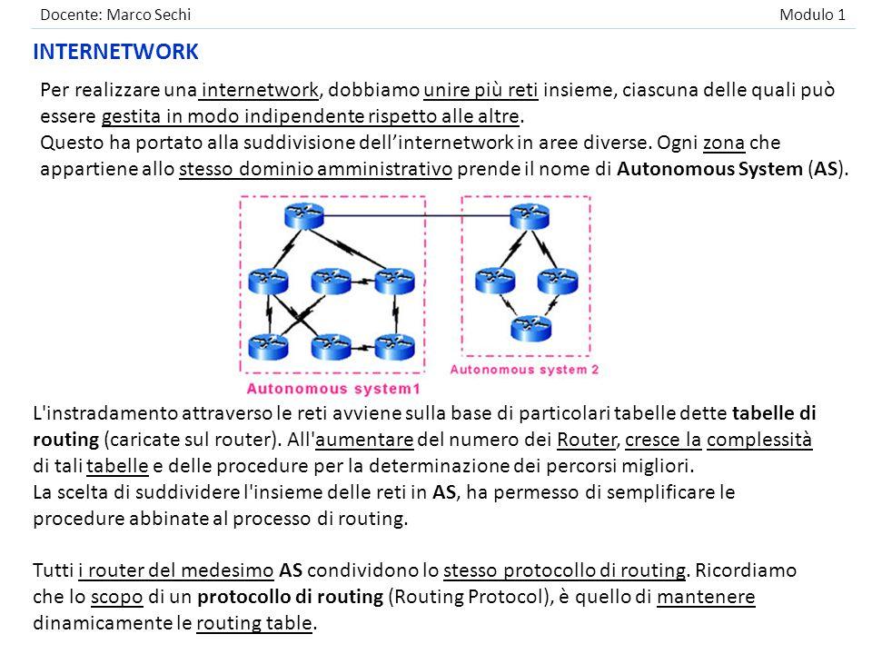 Docente: Marco Sechi Modulo 1 AUTONOMOUS SYSTEM Si rende a questo punto importante collegare i vari Autonomous System fra loro mediante l uso di router in grado di instradare pacchetti fra aree diverse.