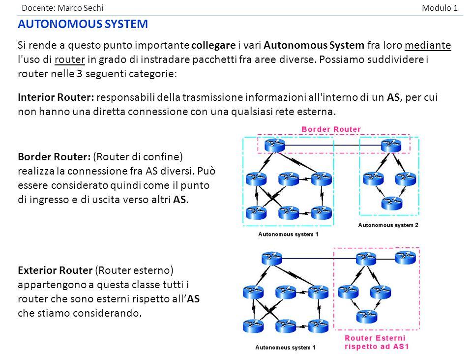 Docente: Marco Sechi Modulo 1 Le reti sono quindi raggruppate in Autonomous System (gruppi di reti controllati e gestiti da un unica entità amministrativa).