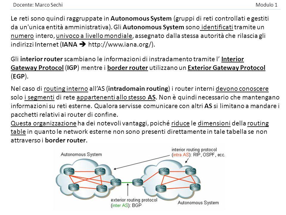 Docente: Marco Sechi Modulo 1 Le reti sono quindi raggruppate in Autonomous System (gruppi di reti controllati e gestiti da un'unica entità amministra