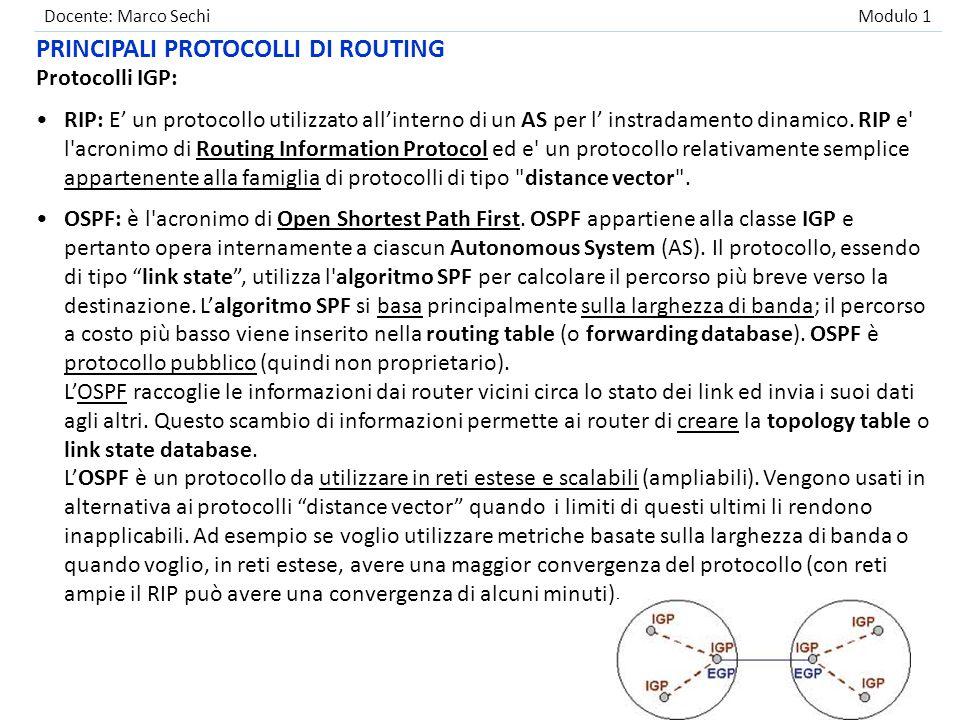Docente: Marco Sechi Modulo 1 Protocolli IGP: RIP: E' un protocollo utilizzato all'interno di un AS per l' instradamento dinamico. RIP e' l'acronimo d